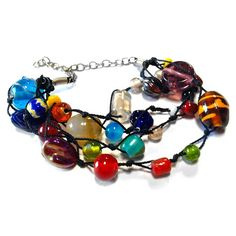 Necklace full glass beads