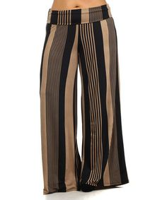 Another great find on #zulily! Brown & Black Gradient Stripe Palazzo Pants - Plus by Pretty Young Thing #zulilyfinds