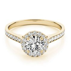 Transcendent Brilliance 14k Gold Classic Halo 3/4 TDW Diamond Engagement Ring (Yellow - Size 6.25), Women's, Pink