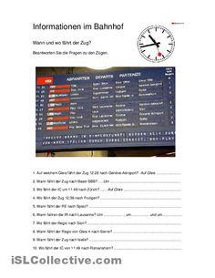 Informationen im Bahnhof Arbeitsblatt - Kostenlose DAF Arbeitsblätter