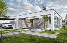 wd p 75 Bali House, Modern Barn House, Modern Bungalow, Small House Design, Modern House Design, One Storey House, Farm Projects, Facade Design, Facade House
