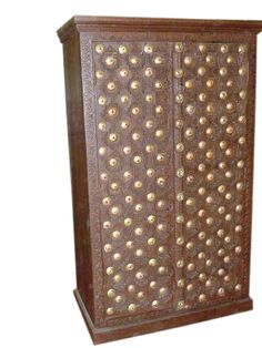 Old Door Brass Armoire Hand Carved Cabinet Indian Furniture
