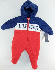 7af648381 Tommy Hilfiger Baby Boys Snowsuit One-Piece Pram Red White Blue Size Months
