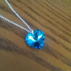 """SALEBeautiful necklace nwot Blue crystal heart  Silver chain, I'm not sure if it is sterling silver  18"""" length Nice sparkle✨ Jewelry Necklaces"""