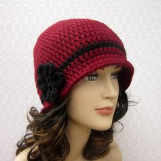 Cranberry Red Crochet Hat  Womens Cloche  by ColorMyWorldCrochet