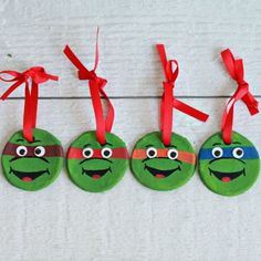 Super easy Teenage Mutant Ninja Turtle Ornaments made from salt dough. Fun holiday craft do with the kids!