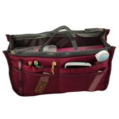 Lmeno® multi-function handbag organizer bag organizer Admission Package zipper handbags organizer Travel Pouch Cosmetic Bag organizer inside storage major makeup package 28x17x10 CM -Pink: Amazon.de: Sport & Leisure