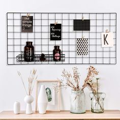 Pulatree Grid Photo Wall, Wire Wall Grid Panel For Photo Hanging Display Metal Grid Wall Decor Organizer Mesh Panels Display Wall Storage 374 X 177 photo ideas from NEO Home Decor Family Wall Decor, Rustic Wall Decor, Metal Wall Decor, Metal Wall Grid, Metal Walls, Metal Board, Hanging Photos, Photo Hanging, Grid Panel