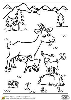 Illustration à colorier d'une chèvre et ses deux petits dans la montagne