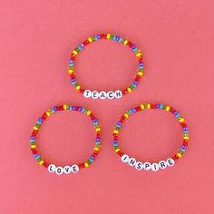 Letter Bead Bracelets, Letter Beads, Word Bracelets, Letter To Teacher, Beaded Necklace, Beaded Bracelets, Layered Jewelry, Black Letter, Czech Glass Beads
