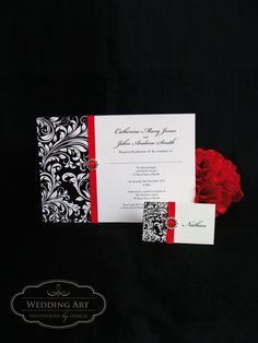 classy modern vintage black and red wedding invitation colours can be changed to suit