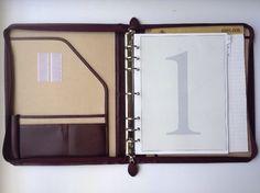 vintage large 7 ring binder planner organizer vinyl cowhide zip closure desk