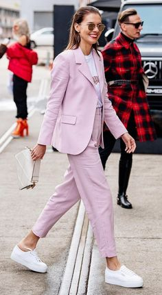 love a pink two piece power suit, a huge trend this spring is a suit in powder pink or lilac color,