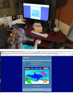Ocean interactive computer activity - couldnt pry her away from this!! you can find it at http://www.dolphinkind.com/colorgame1.html