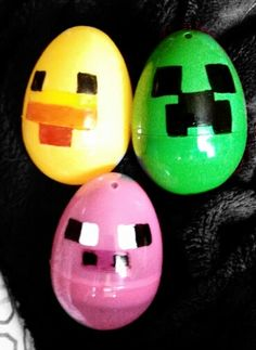Minecraft Easter Eggs! I bought primary colored plastic eggs and drew characters on them with Sharpies! Purple eggs were Enderman, Blue eggs were water blocks, Orange eggs were pumpkins