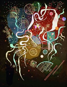 Wassily Kandinsky (Russian, Movement I (Mouvement I), Mixed media on canvas. 45 x 35 in. x 89 cm). Bequest of Nina Kandinsky, The State Tretyakov Gallery, Moscow. Wassily Kandinsky, Abstract Expressionism, Abstract Art, Abstract Paintings, Abstract Landscape, Inspiration Art, Russian Art, Henri Matisse, Psychedelic Art