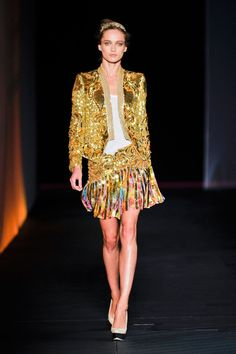Roberto Cavalli Spring 2012:   Always genuinely womanly and sexy, gloriously imaginative (particularly in using and mixing patterns and colors)  He clearly loves real women, and I love him!