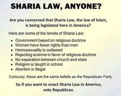 Want Sharia Law? Vote for the regressive Republicans, because all of these are already on their to do list.