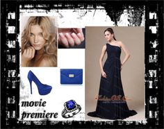 """""""Navy Blue One Shoulder Neckline For Wedding Party With Chiffon Bridesmaid Dress"""" by quinceanera-fashionos on Polyvore"""