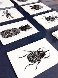 black and white set postcard - Set of 4 black and white Postcards graphic - modern postcard -butterfly card - home decor Print Design, Web Design, Graphic Design, Casa Rock, Art Graphique, Butterfly Cards, Linocut Prints, Art Plastique, Zine