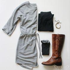 favorite looks for fall / jones design company sweatshirt dress, leggings, brown boots