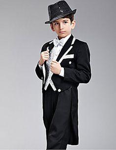 Black/Silver Polester/Cotton Blend Ring Bearer Suit - 7 Pieces