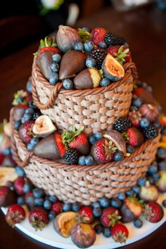 basket weave, chocolate, and berries. cake dessert