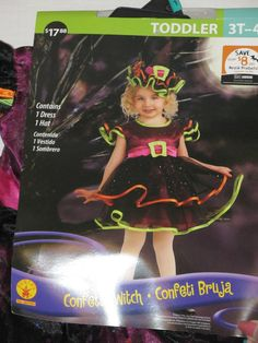 Sz 3T 4T Confetti Witch Toddler's Costume Hat Black Hot Pink Green Sparkles New  #Rubies #CompleteCostume