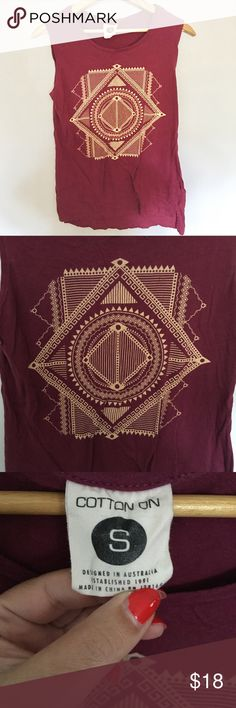 Cotton So & Co. Sacred Geometry Graphic Tank Top S Australian brand Cotton So & Co. Graphic Tank atop With Sacred Geometry Design. Super soft. Perfect Tank for all occasions. Wear it to yoga, coffee with friends or pair with a jacket and heels for a night out. Very good condition for pre-loved item. No holes or stains. Cotton So & Co. Tops Tank Tops