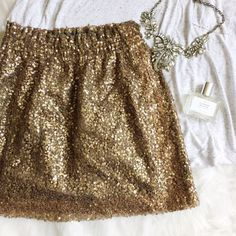 J. Crew Sequin Mesh Bell Skirt - Bronzed Ochre Gorgeous and classic J. Crew piece. Color is a beautiful bronze-y gold. Size 0. Excellent condition. J. Crew Skirts Mini