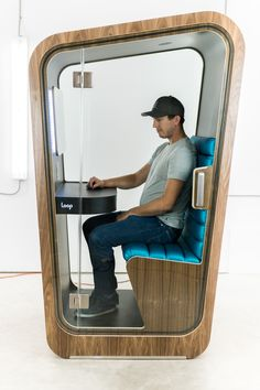 Loop Phone Booths on Behance Office Cube, Office Pods, Tiny Office, Home Office Setup, Stylish Office, Office Interior Design, Office Interiors, Mobile Desk, Transforming Furniture