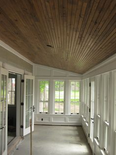 Resawn White Oak Beadboard, Montana Reclaimed Lumber Co. Previous Post Next Post 3 Season Porch, Three Season Room, Screened Porch Designs, Screened Porches, Front Porch, Sunroom Decorating, Enclosed Porch Decorating, Sunroom Ideas, Porch Ideas