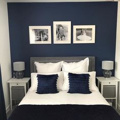 After moving in to new build we wanted to create a clean, fresh look in our main bedroom and we love the result. Blue Master Bedroom, Blue Bedroom Walls, Blue Bedroom Decor, Bedroom Decor For Couples, Master Bedroom Makeover, Blue And Gold Bedroom, Bedroom Colors, Navy Blue Bedrooms, Bedroom Layouts