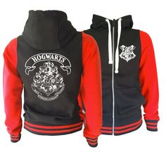 Harry potter Inspired Hogwarts Unisex Adult hooded red and black varsity jacket. Amazing! by iganiDesign on Etsy