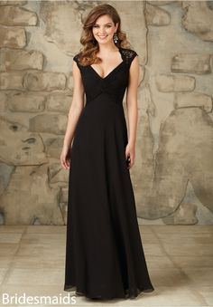 Bridesmaids Dresses Lace and Chiffon Keyhold Zipper Back. Shown in Black. Available in All Solid Lace Colors.