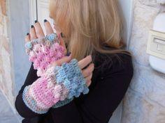 handmade crochet fingerless gloves in pastel by GoldenYarn on Etsy, $30.00
