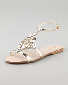 Miu Miu Embellished Lame Sandal - Neiman Marcus