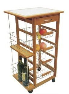 Songmics carrito de cocina con encimera de madera mesa de servicio con ruedas 67 x 76 x 37 cm - Amazon mesa auxiliar cocina ...