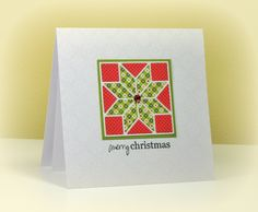 handcrafted Christmas Quilt Card by swldebbie ... Versamark watermark technique on background ... inlaid die cut using WPlus9 quilt block die ... love the clean and simple design ...