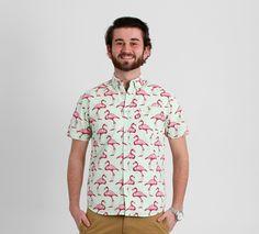 Artistry in Motion Flamingo Print BBQ Shirt for Men
