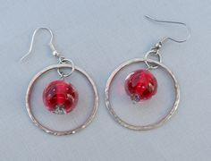 Lampwork Glass and Sterling Silver Hoop Earrings