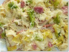 Gizi-receptjei: Kelkáposztás-baconös-sajtos tészta. Potato Salad, Bacon, Potatoes, Grains, Rice, Ethnic Recipes, Gouda, Cabbage, Vegetables
