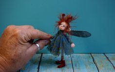 RESERVED ooak poseable ... woodland Tinker PIXIE fairy ( #42 ) Dinky Darlings polymer clay art doll elf faery minature