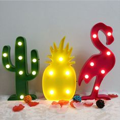 3D LED Flamingo Pineapple Cactus Lamp Romantic Table Lamp Letter Marquee LED Nightlight Home Christmas Kids' Room Decoration