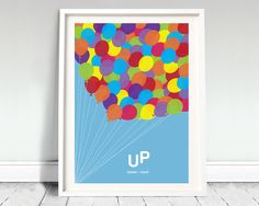 "DISNEY PIXAR'S UP - movie poster: 12x16"" art, print, film, balloons, disney, kids print, illustration, minimal, pixar, up, kids art"