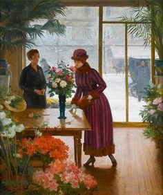 """Buying Flowers"": Victor Gabriel Gilbert, (1847-1933)."