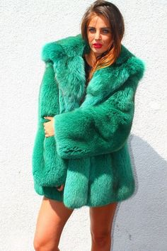 dyed green fox fur parka