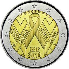2 Euro CuNi Welt AIDS Tag UN