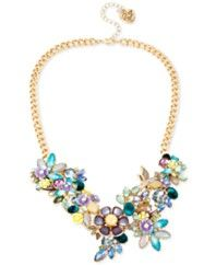 Betsey Johnson Gold-Tone Multi-Stone Flower Statement Necklace