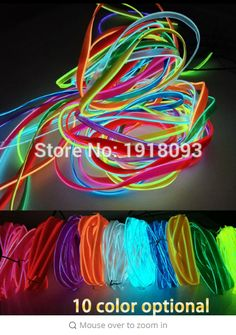 3 Meters 2.3mm Led Flexible El Wire Neon Lights Glow Light Strip Party Festival Chrismas Home House Decoration Strip String Lamp Electronic Components & Supplies